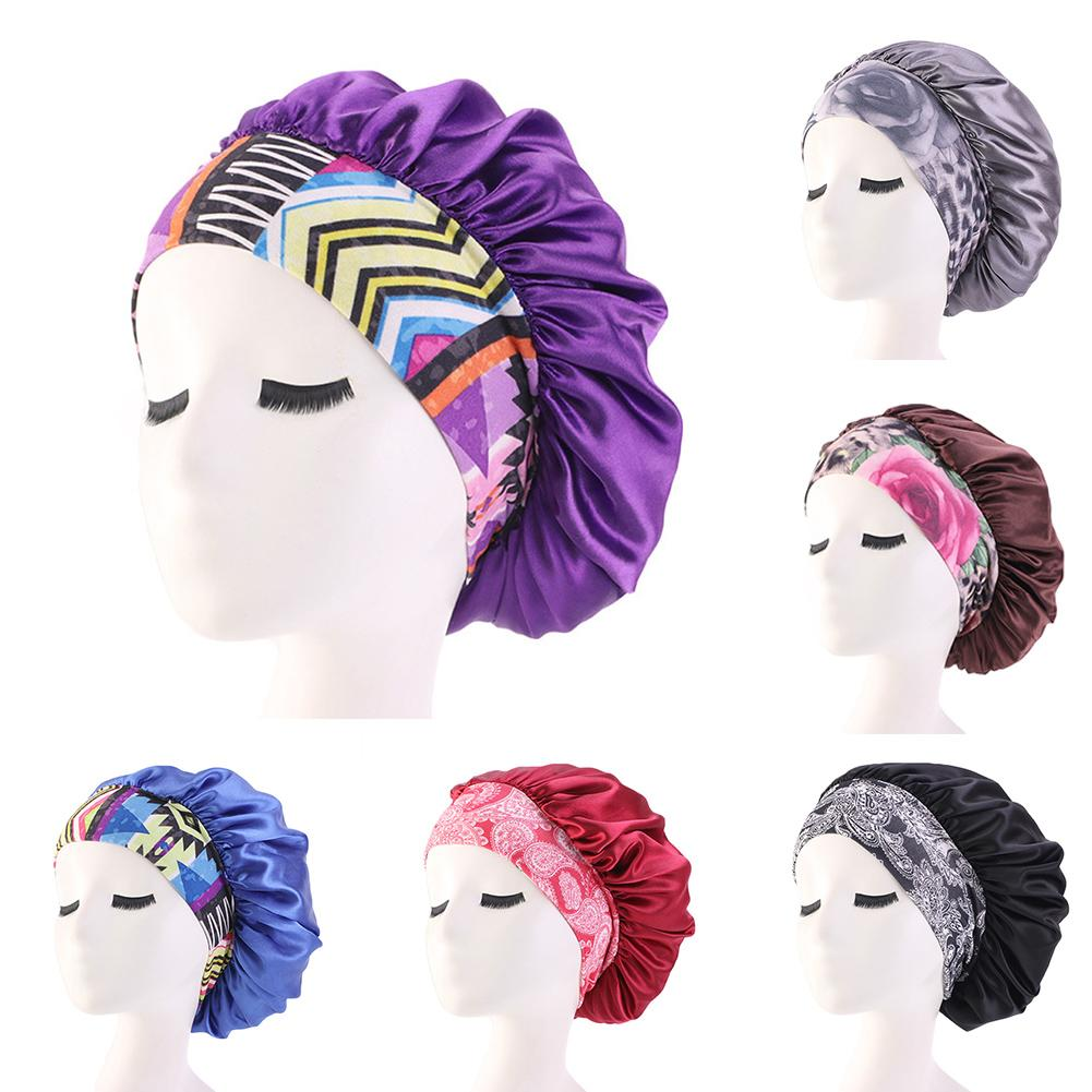 Women African Floral Print Satin Night Sleep Bonnet Hat Hair Care Cap Head Wrap 2020