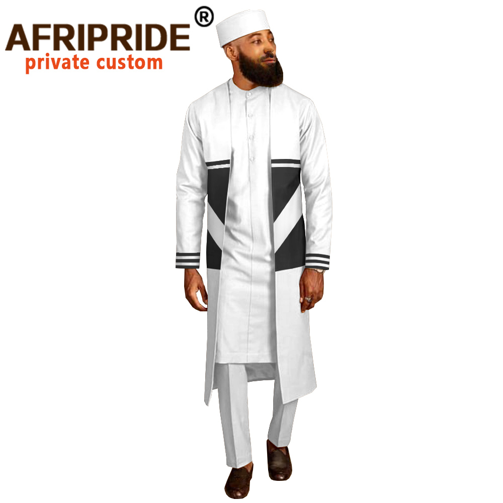 Men`s Suit Long Coats Dashiki Shirts Ankara Pants Traditional Hat 4 Piece Set African Clothing Attire Wear AFRIPRIDE A2016012