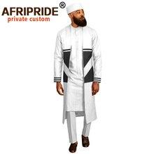 Мужской костюм с длинным пальто рубашки дашики Анкара брюки традиционная шляпа 4 шт комплект Африканская одежда одежда Одежда AFRIPRIDE A2016012