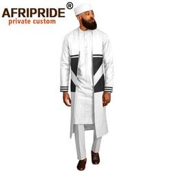 Pantaloni del Vestito degli uomini di Cappotti Lunghi Dashiki Camicette Ankara Tradizionale Cappello 4 pezzo Set di Abbigliamento Africano Abbigliamento Usura AFRIPRIDE A2016012