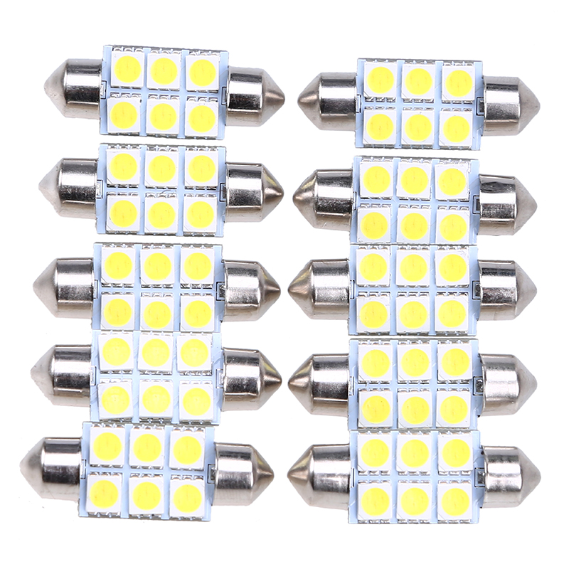 POSSBAY 10 Pcs 36mm 5050 6SMD White Micro General Car Interior Festoon Dome LED <font><b>Light</b></font> <font><b>Bulbs</b></font> Lamp DC12V <font><b>Daytime</b></font> <font><b>Running</b></font> <font><b>Light</b></font> image