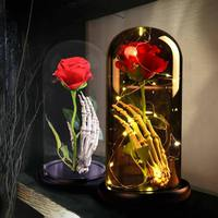 Wooden Base Glass Cover Landscape Eternal Flower Rose Glass Cover Halloween Home Party Table Decor Crafts Best Gifts