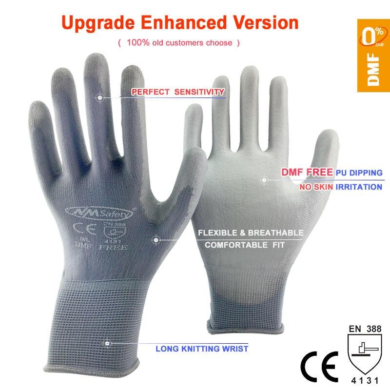 NMSAFETY-guantes de trabajo de seguridad, 12 pares, flexibles, nailon o poliéster