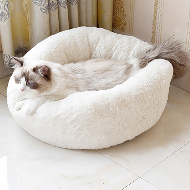 Fluffy Pet Dog Bed Soft Round Dog Long Plush Kennel For Dogs Washable Puppy Cat Bed Cushion Winter Warm Sofa House Accessories 1