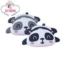 Xcqgh 20pcs 실리콘 만화 동물 팬더 모양 teether 실리콘 아기 molar 구슬 젖꼭지 체인 액세서리 아기 teether
