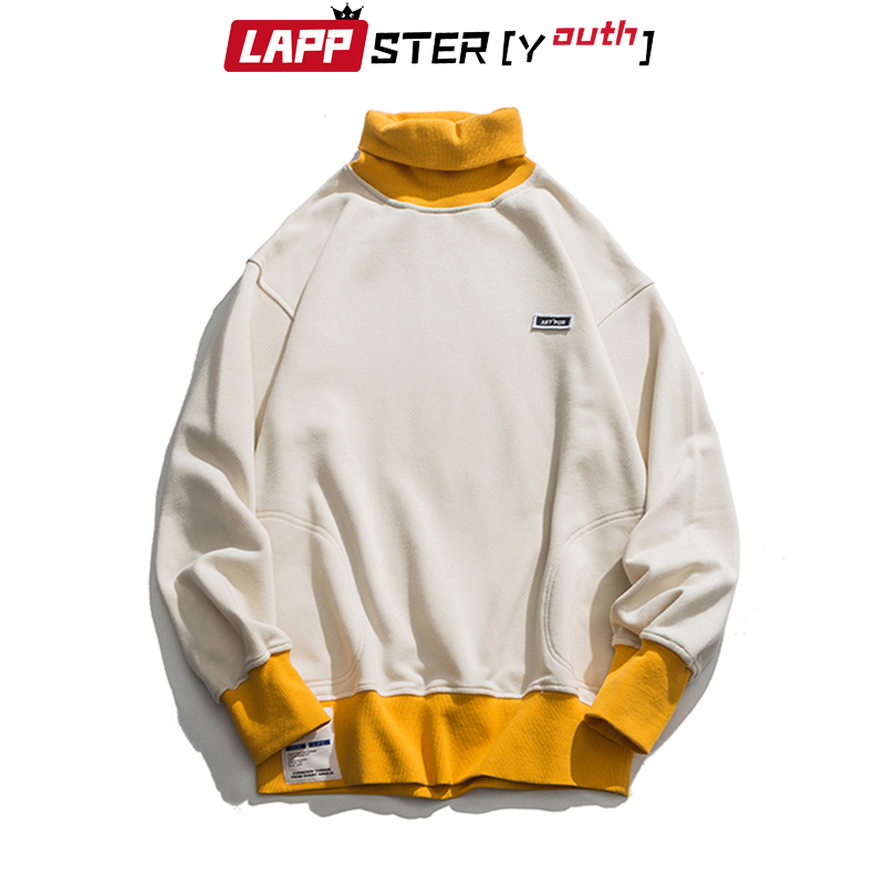 LAPPSTER-Youth Men Turtleneck Hoodies 2020 Mens Color Bock Streetwear Sweatshirts Male Korean Fashions Hip Hop Loose Hoodies 3