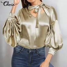 Celmia 2020 Fashion Satin Blouse Women Sexy V neck Bow Tie Elegant Office Lady