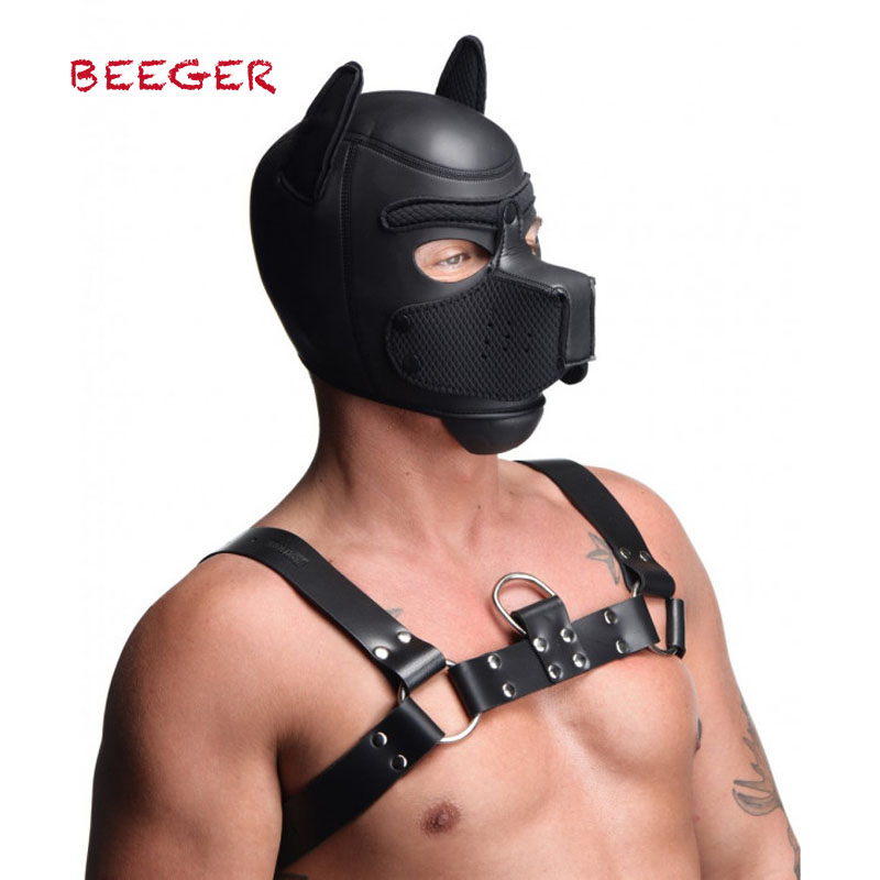 BEEGER Spike Neoprene Puppy Hood, 2019 New Soft Padded Rubber Neoprene Puppy Cosplay Role Play Dog Mask Full Head With Ears