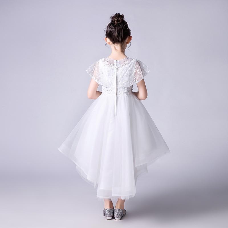 Dresses Of Bride Fellow Kids Princess Dress White Puffy Yarn Children Wedding Dress Tailing Skirt Girls CHILDREN'S DAY Performan