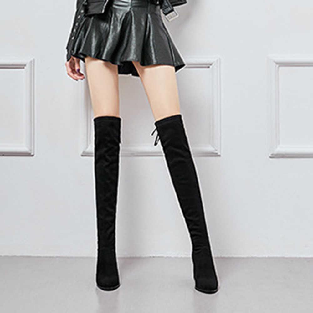 DIHOPE Size35-41 botas de invierno por encima de la rodilla, zapatos de mujer elásticos de tela de pierna alta y sexy, Bota larga de mujer