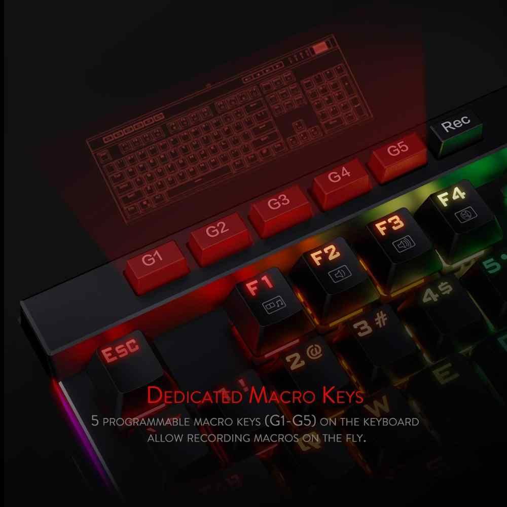 Redragon K580 VATA لوحة مفاتيح ميكانيكية للألعاب RGB LED بإضاءة خلفية 104 مفتاح مفاتيح ماكرو مضادة للظلال مفاتيح زرقاء لدوتا 2 Gamers