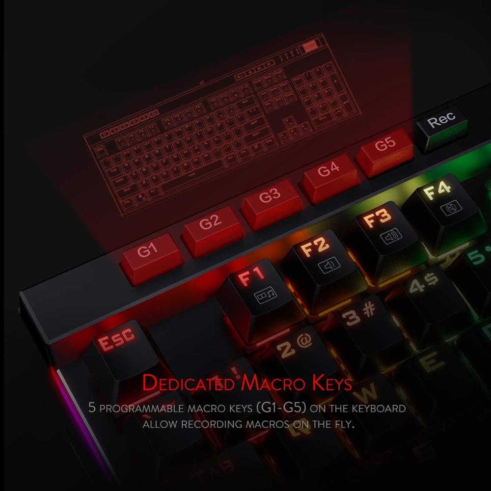 Image 4 - Механическая игровая клавиатура Redragon K580 VATA, RGB светодиодный с подсветкой 104 клавиши, анти ореолы, макроклавиши, синие переключатели для DOTA 2 геймеровКлавиатуры    АлиЭкспресс