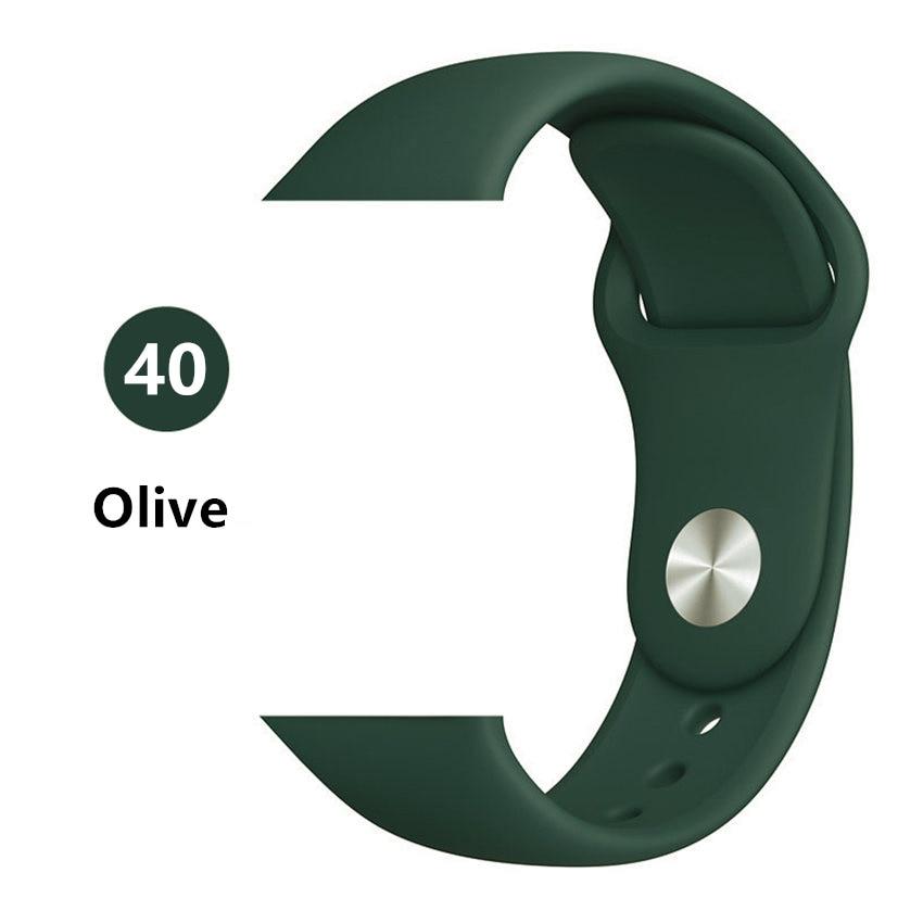 Силиконовый ремешок для apple watch 4 5 44 мм/40 мм спортивный ремешки для apple watch 3 42 мм/38 мм резиновый ремень браслет ремешок для часов apple watch Band Мягкий красочный ремешок iwatch series 4 3 2 1 - Цвет ремешка: Ovile