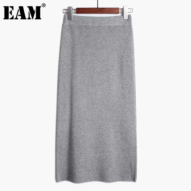 [EAM] Женская трикотажная юбка средней длины с высокой эластичной талией серого цвета и цвета хаки, весна осень 2020 1DA122 Юбки      АлиЭкспресс