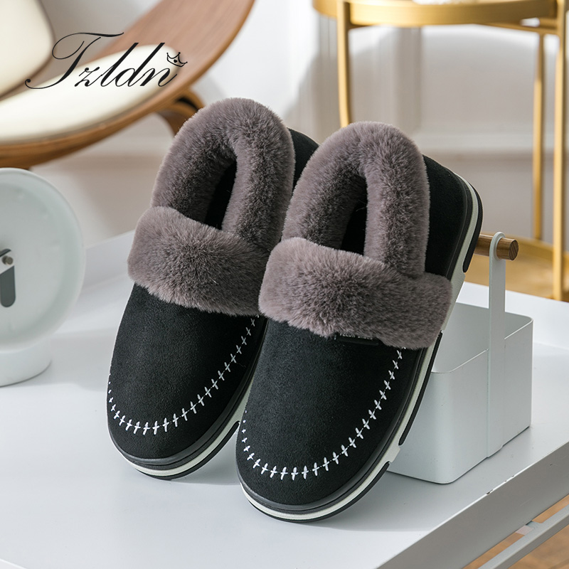 TZLDN Winter Men Shoes Couple Cotton Slippers Male Wear Bags Indoor Outdoor Non-slip Thick Suede Upper Fur Plush Warm Shoes title=
