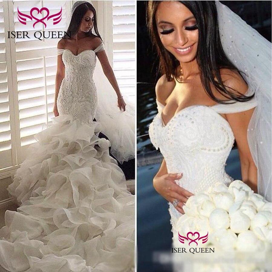 Cap Maniche Delicato Ricamo di Perle Sexy Sirena Abiti Da Sposa Organza del Treno Vestido De Casamento Praia W0322 - 3