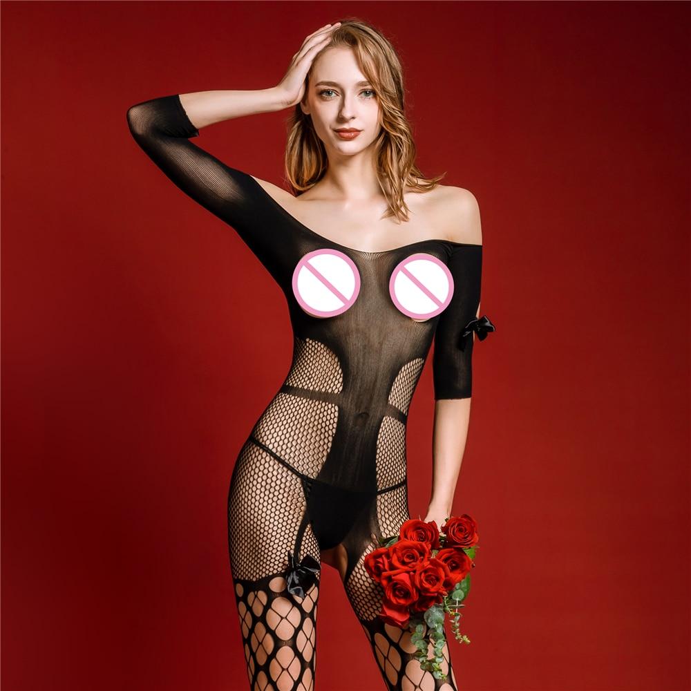 Sexy Exotic Bodysuit For 150-175cm Women Lady Girl Elastic Open Bra Crotch Bodysuits Catsuit Fishnet Bodystocking Nylon Costumes