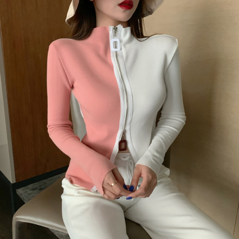 Novel Zipper Sweater Women Fancy Style Loose Turtleneck Sweaters Color Matching Long-Sleeved Casual Bottoming Tops Pull Femme