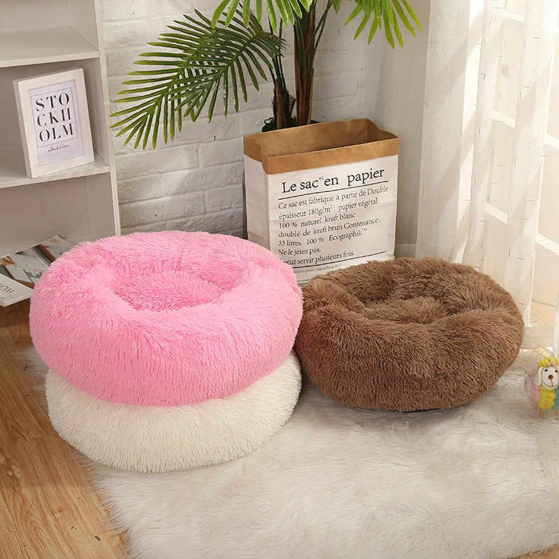 슈퍼 소프트 라운드 애완 동물 침대 큰 개집 침대 개 Cathouse 겨울 따뜻한 침낭 봉제 개 집 매트 비 슬립 통기성 개 침대