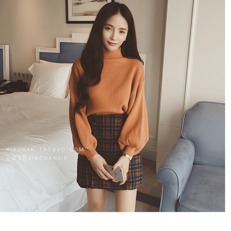 Turtleneck Sweater 2019 Women Vintage High Neck Wide Sleeve Knitted Thickening Warm Pullover Oversize Jumper Large Loose свитер