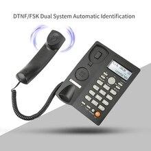 Teléfono de escritorio con cable con pantalla de identificación de llamadas, teléfono fijo con cable para el hogar/Hotel/oficina, volumen ajustable, fecha en tiempo Real W
