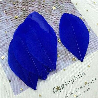 Натуральные гусиные перья 4-8 см, многоцветные белые перья, поделки своими руками, украшения для свадебной вечеринки, аксессуары, 50 шт - Цвет: blue 50pcs