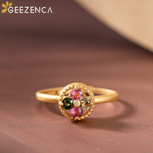 Trendy Vintage 925 Sterling Silver Gold Plated Natural Tourmaline Rotating Women's Rings Fine Jewelry Gemstone Open Ring Gift