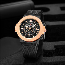 Fashion Sport Men Watch Waterproof Hollow Dial Date Display Watch Men Silicone Strap Luxury Brand Quartz Wristwatch Reloj Hombre automatic month men quartz wristwatch cowhide leather strap big dial sport watches male adjustable date display business watch