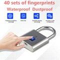 Segurança keyless usb recarregável fechadura da porta de impressão digital inteligente cadeado desbloqueio rápido liga zinco precisão segurança inteligente cadeado