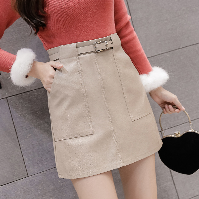 Photo Shoot 2019 Autumn And Winter New Style INS Super Fire Short Skirt High-waisted Slimming A- Line Small Leather Skirt Skirt