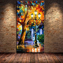 Mintura Grote Hand Geschilderd Abstract Modern Muur Schilderen Rain Tree Road Paletmes Olieverfschilderij Wall Art Home decor