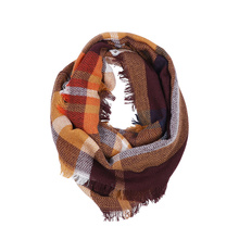 Fashion Infinity Scarf Autumn Women Men Plaid Scarf Casual knitted Winter Scarf Soft Tassel For Adult Cashmere Bufandas Hombre
