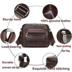Image 3 - WESTAL Bolso de hombro informal de cuero genuino con cremallera para hombre, bandolera de cuero con solapa