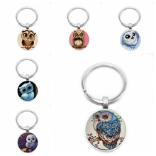 2019 New Hot Sale, Cute Owl Art Pattern Concave Glass Cabochon Keychain, Men and Women Gift Keychain