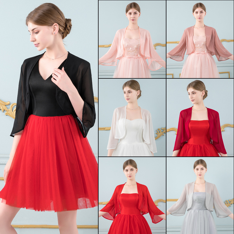 8 Colors Shrugs For Bridal Bolero Women Chiffon Wedding Jacket Wraps And Shawls Cape For Dress Bride Jacket Mariage Accessories