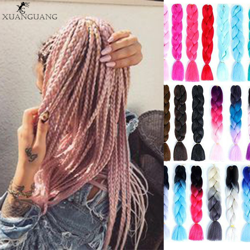 XUANGUANG 24inch Pink Purple Blue Blonde Color Synthetic Jumbo Braids Ombre Braiding Hair White For Women