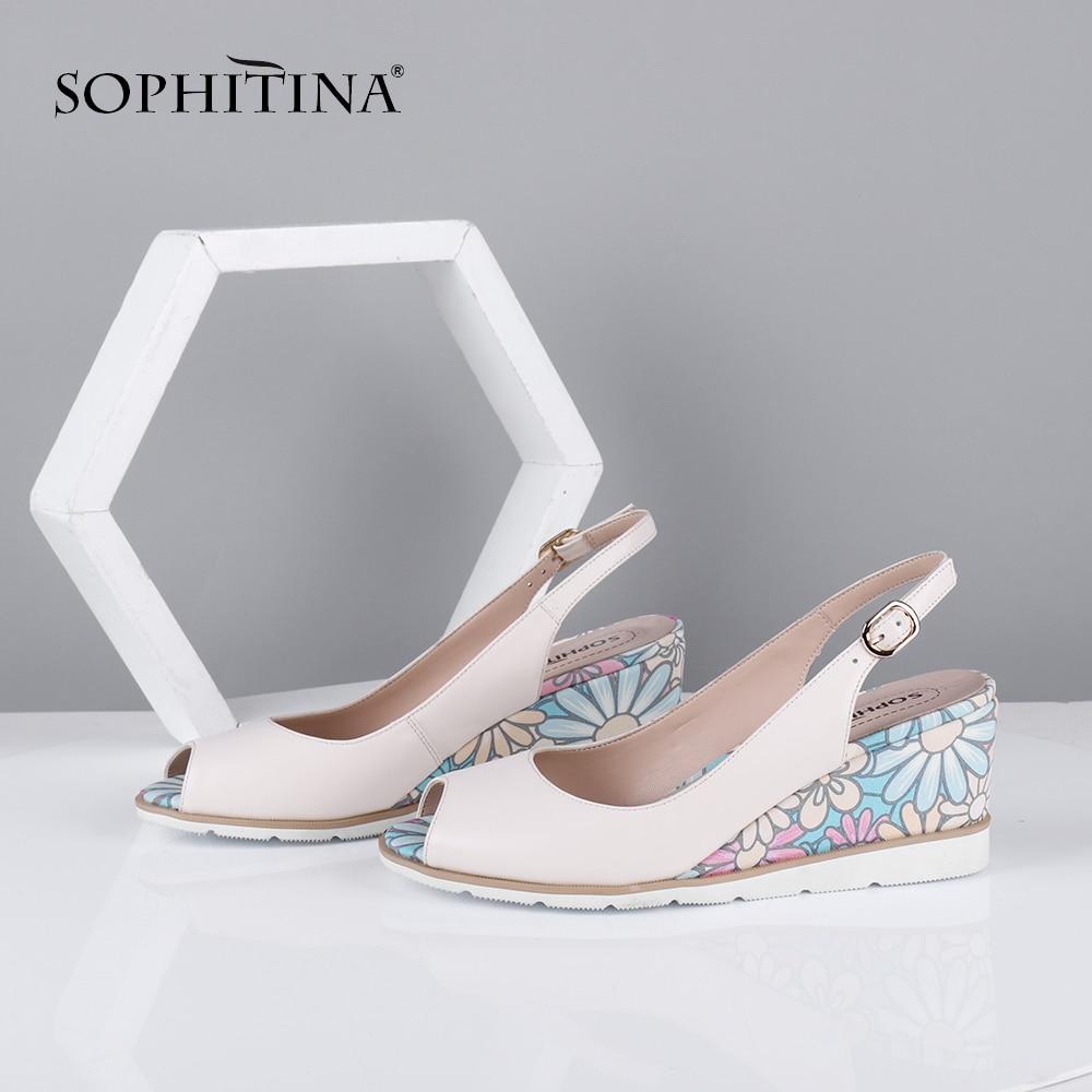 SOPHITINA Sweet Women Sandals Peep Toe Wedges High Floral Pattern Back Strap Slip-On Fashion Casual Shoes Sheepskin Pumps C644