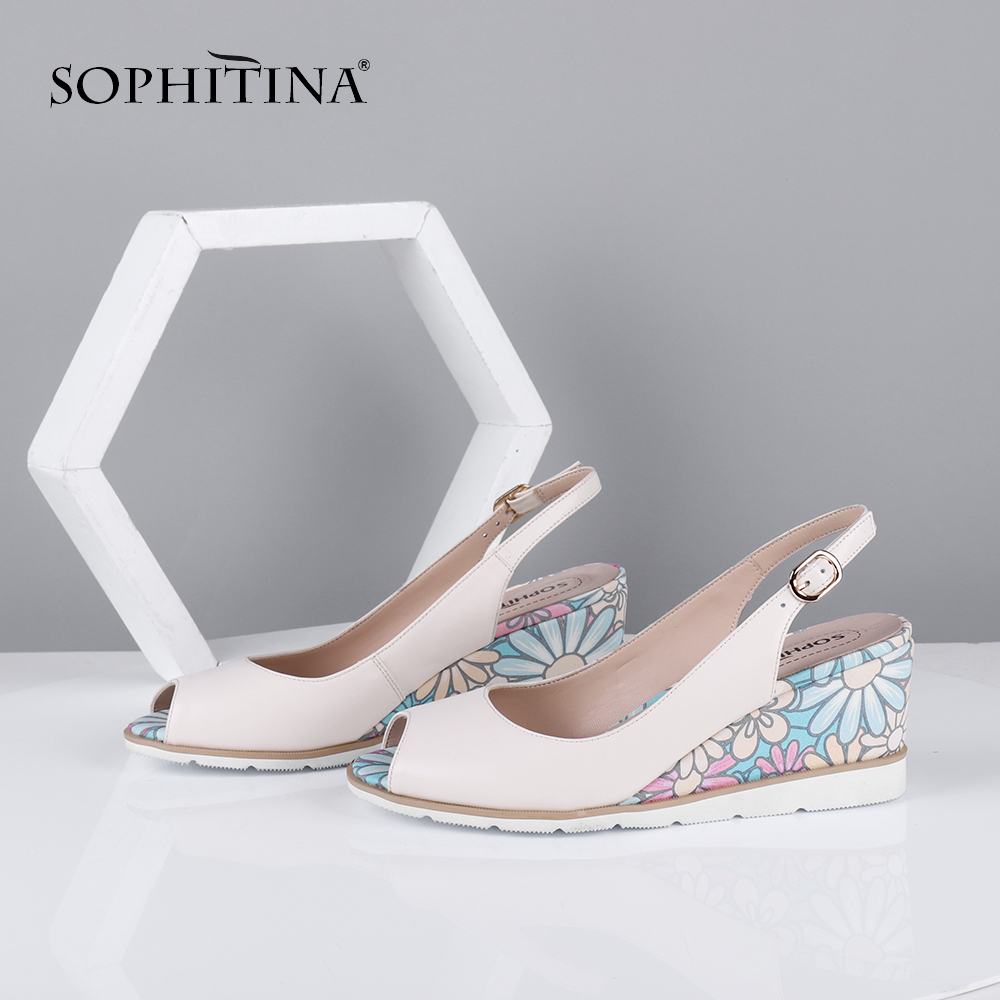 SOPHITINA Sweet Women Sandals Peep Toe Wedges High Floral Pattern Back Strap Slip-On Fashion Casual Shoes Sheepskin Pumps C644 title=