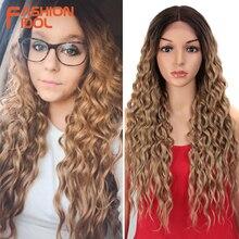 FASHION IDOL perruques Lace Front wig synthétiques de 28 pouces, postiches souples Loose Wave pour femmes au teint ombré brun ou rose, résistantes à la chaleur