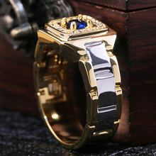 Huitan Party Men Rings Creative Watch Shaped Two Tone Design Wholesale Blue Ston