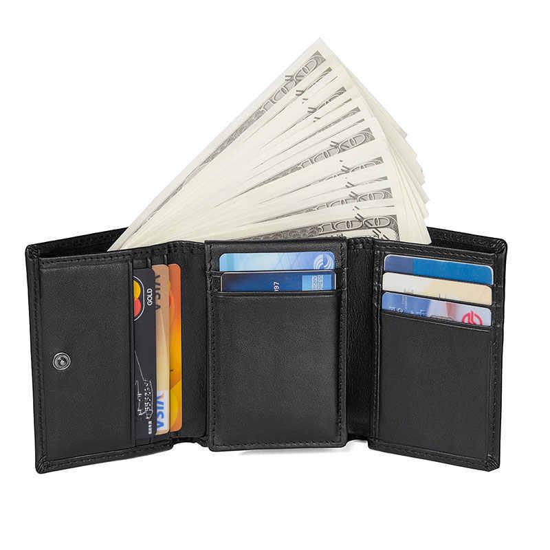 Augus VINTAGE ผู้ชายหนัง RFID กระเป๋าสตางค์ใบอนุญาตผู้ถือคุณภาพสูง 100% รับประกันหนังกระเป๋าสตางค์กรณีบัตรเครดิต