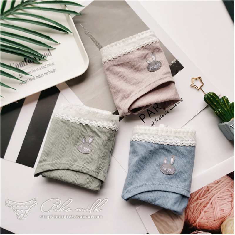 SP&CITY Adorable Cartoon Rabbit Pattern Women's Cotton Briefs Menstrual Panties Cute Bow Lace Edge Underwear For Women Lingerie