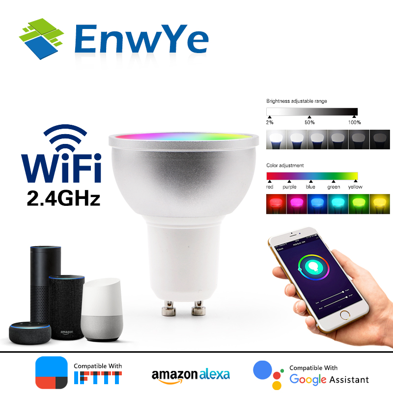 EnwYe WiFi Smart Bulb LED Lamp Cup 5W RGB+WW+CW Support Amazon ECHO/Google Home/IFTTT Remote Voice Control Led Lamp GU5.3 GU10