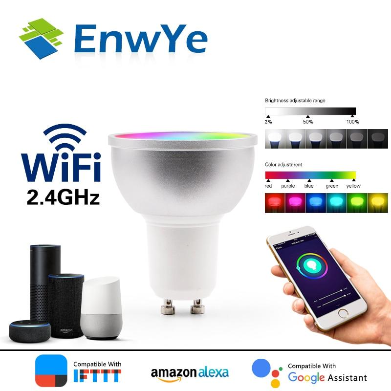 EnwYe WiFi умная лампа Светодиодная лампа 5 Вт RGB + WW + CW поддержка Amazon ECHO/Google Home/IFTTT дистанционное управление голосом Светодиодная лампа GU5.3 GU10