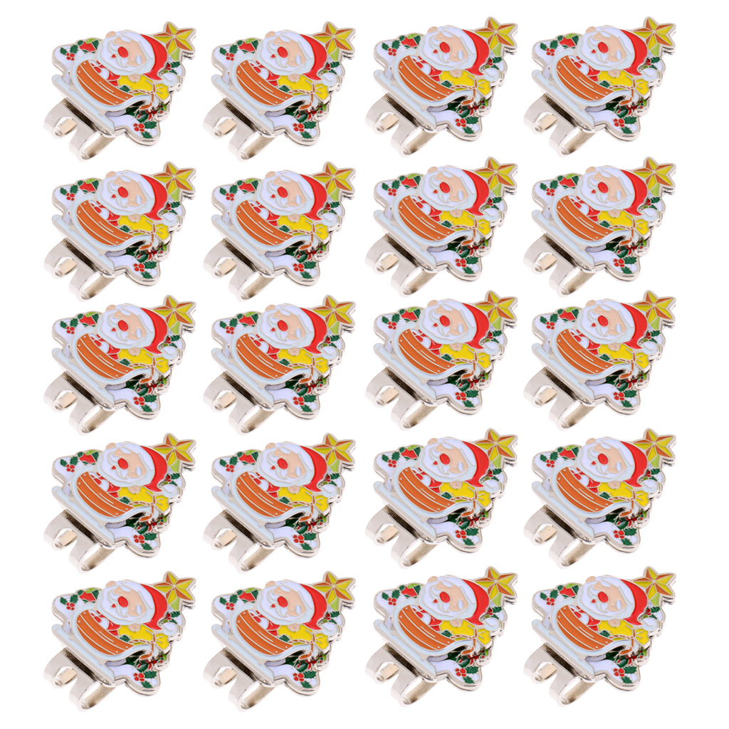 20 Pieces/Pack Quality Santa Claus Magnetized Cap Visor Clip-on Golf Ball Marker Nice Christmas Gift