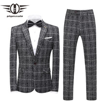 Brand Black Grey Ginger Yellow Navy Blue Plaid Wedding Suits 2020 Fashion Check Suit Men Slim Fit Formal Suits Male 2 Piece Q877(China)