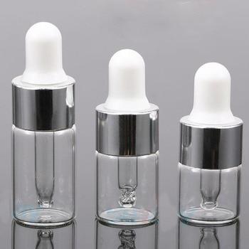 50Pcs 1/2/3 ml Clear Glass Essential oil Aromatherapy Dropper Bottles Silver Aluminum Cap Reagent Drop Eye Liquid Pipette Bottle недорого