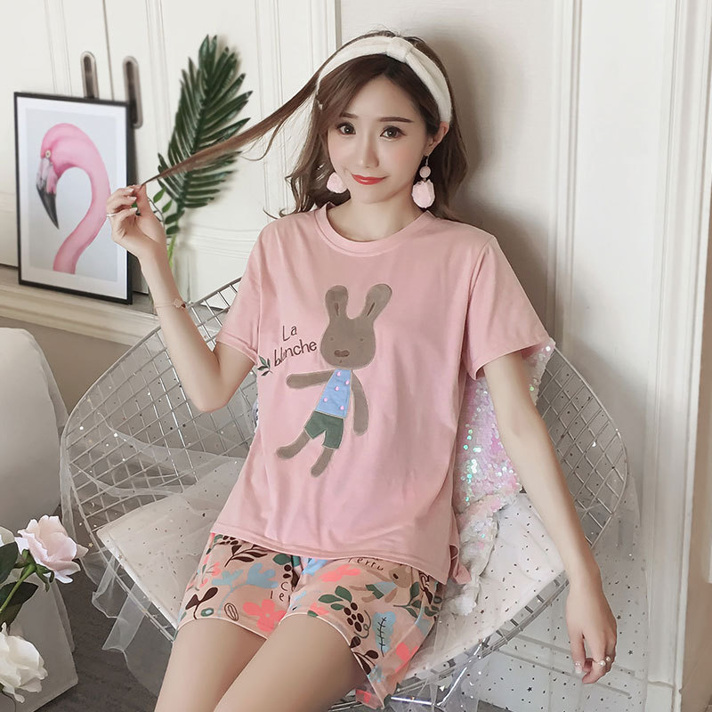 [[Jun Xin]] Summer Qmilch 170 Grams Short Sleeve Set Crew Neck Cartoon Pink Bear Pajamas Women's