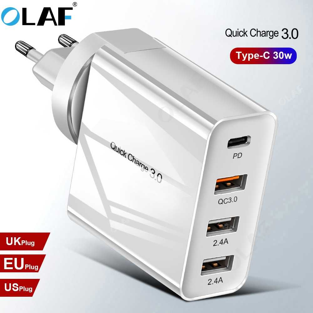 OLAF 48W Quick Charge QC 3.0 PD Charger USB Charger QC3.0 USB Type C Fast CHARGING สำหรับ iPhone X XS XR 8 Xiaomi โทรศัพท์ PD Charger