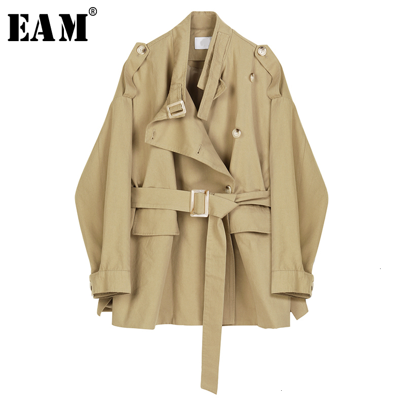 [EAM] Loose Fit Khaki Bandage Stitch Big Size Jacket New Stand Collar Long Sleeve Women Coat Fashion Spring Autumn 2020 1D361